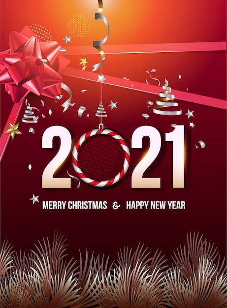 С новым годом с листьями и красной лентой Premium векторы