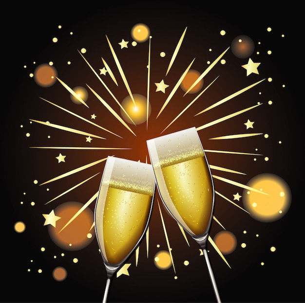 Happy new year with two glasses of champagne Free Vector