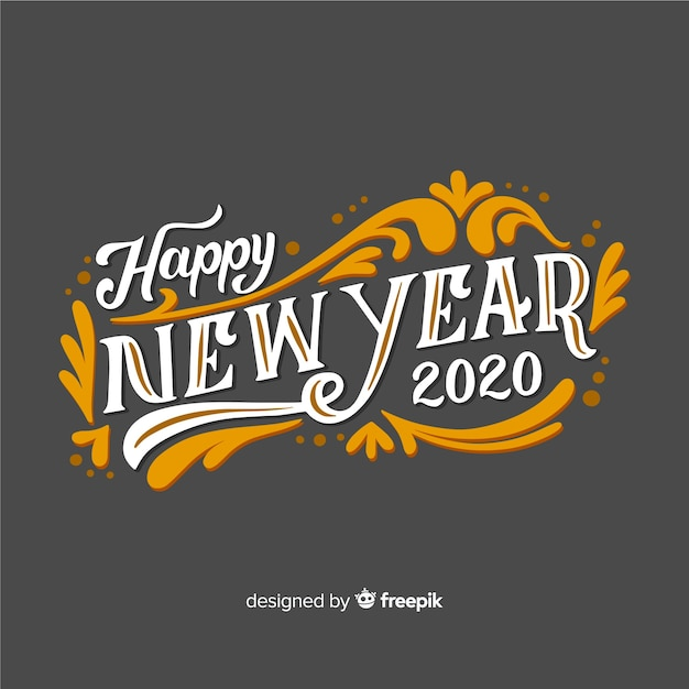Happy new year with vintage lettering Free Vector