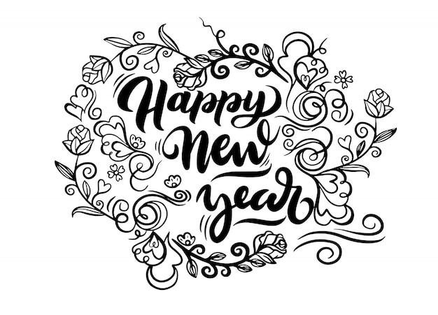 幸せな新年の花輪落書き Premiumベクター