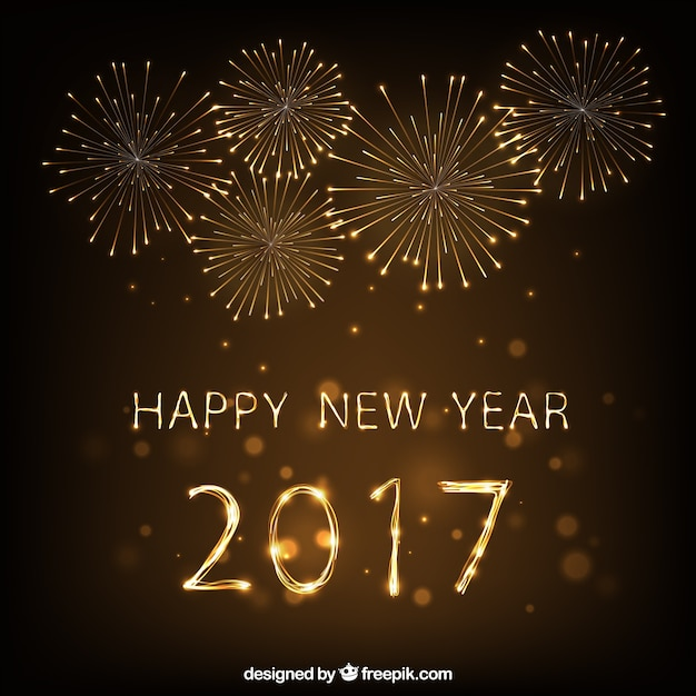 Happy New Yeark 2017 Fireworks Background Vector | Premium ...