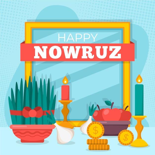 Happy nowruz event flat illustration Free Vector