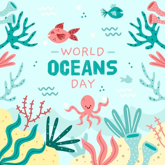 Giorno di oceani disegnati a mano felice del pesce e del polipo Vettore gratuito