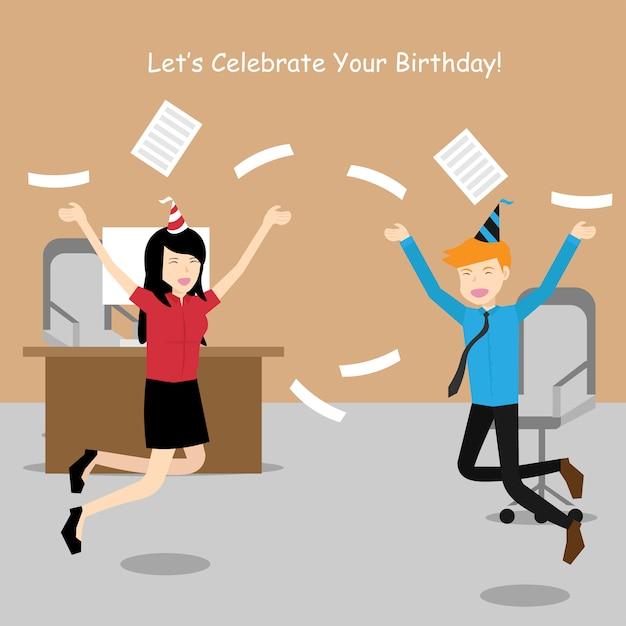 Happy Office Worker Celebrate Birthday Vector Premium Download
