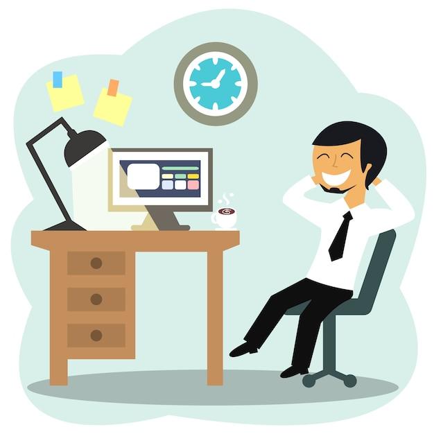 Happy office worker Vector   Free Download