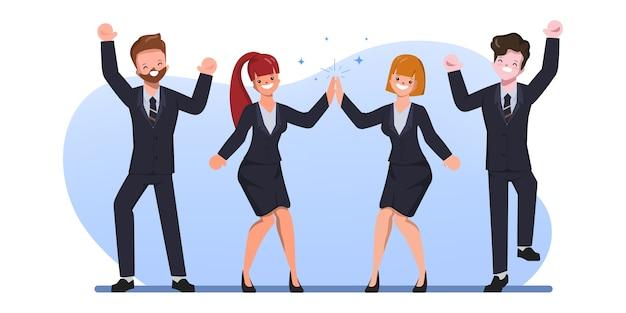 幸せなサラリーマンの文字人フラットイラスト。陽気な企業従業員のお祝い。 Premiumベクター