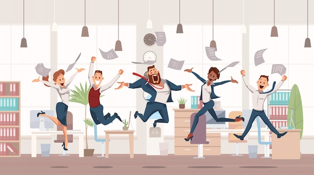 Happy office workers jumping up Premium Vector