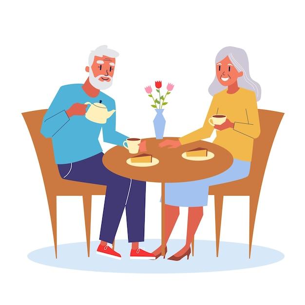 Счастливая пожилая пара сидит за столом и пьет чай Premium векторы
