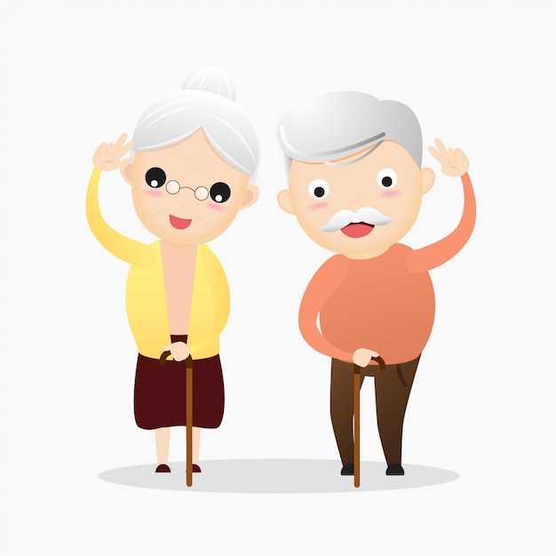 Happy old man and old woman concept Premium Vector
