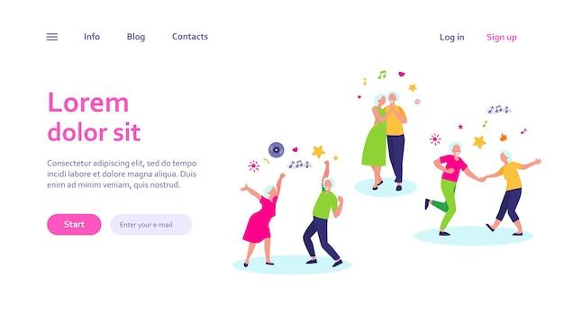 Счастливые пожилые люди танцуют изолированный веб-шаблон. мультяшные старшие деды и бабушки веселятся на вечеринке Бесплатные векторы