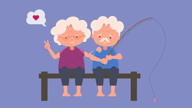 Счастливые пожилые люди рыбная ловля, пожилые любители, хорошее настроение и физическое здоровье, пожилые любители, проведите время вместе счастливо, хорошее настроение и физическое здоровье Premium векторы