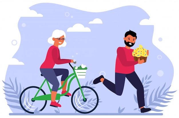 Happy old woman riding bike Free Vector