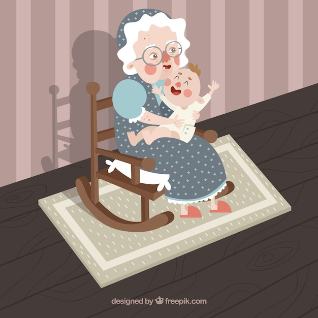 Happy old woman with her grandson Free Vector