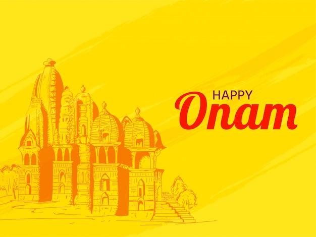 Happy onam banner or poster design. Premium Vector