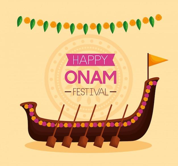 Happy onam festival celebration Free Vector