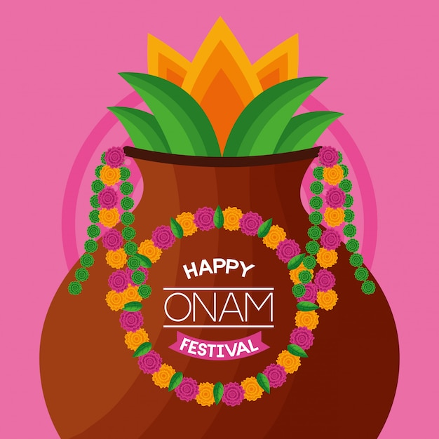 Happy onam festival celebration Free Vector