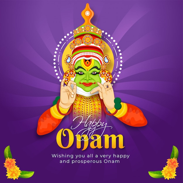 Happy onam festival message card or poster design with illustration of kathakali dancer on purple rays background. Premium Vector