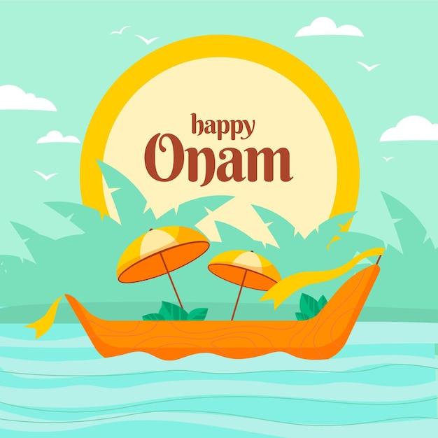 Happy onam with boat and umbrellas Premium Vector