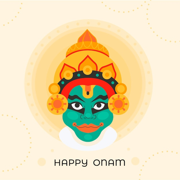 Happy onam with indian deity Free Vector