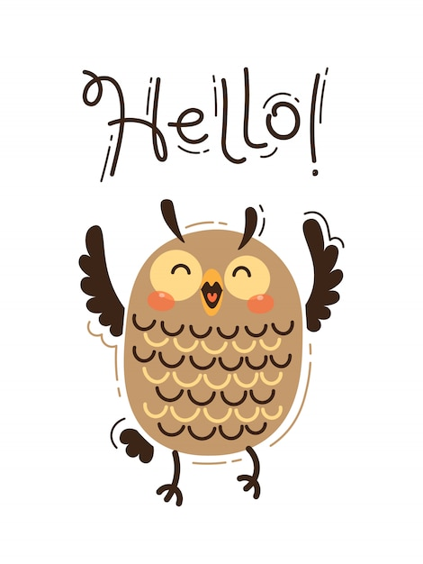 A happy owl greets you hello. vector illustration in cartoon style Premium Vector