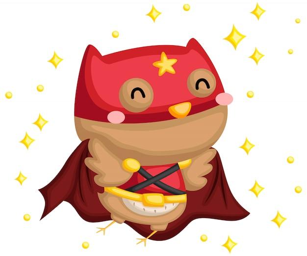 Happy owl superhero Premium Vector