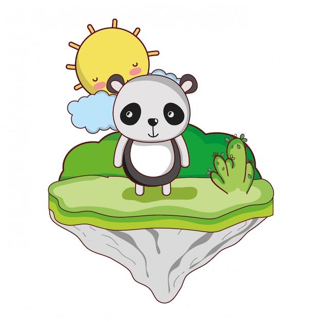 Happy panda animal in the float island Premium Vector