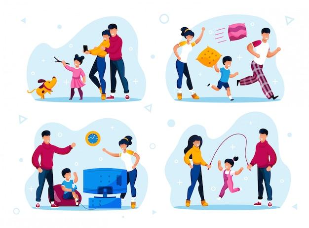 Happy parenthood activities types flat set Premium Vector