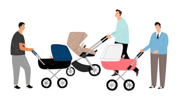 Счастливое отцовство. отцы с детской коляской. Premium векторы