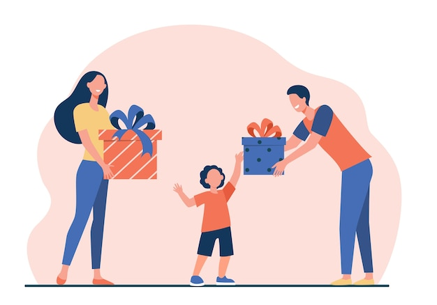 Happy parents giving gifts to son. boy receiving birthday presents flat vector illustration. surprise, christmas, childhood Free Vector