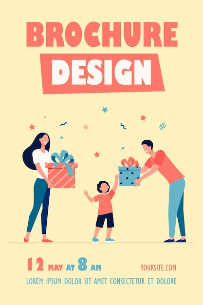 Happy parents giving gifts to son flyer template Free Vector