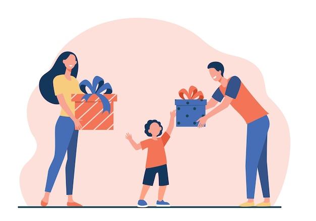 아들에게 선물을주는 행복한 부모. 생일을받는 소년 평면 벡터 일러스트 레이 션을 제공합니다. 서프라이즈, 크리스마스, 어린 시절 무료 벡터