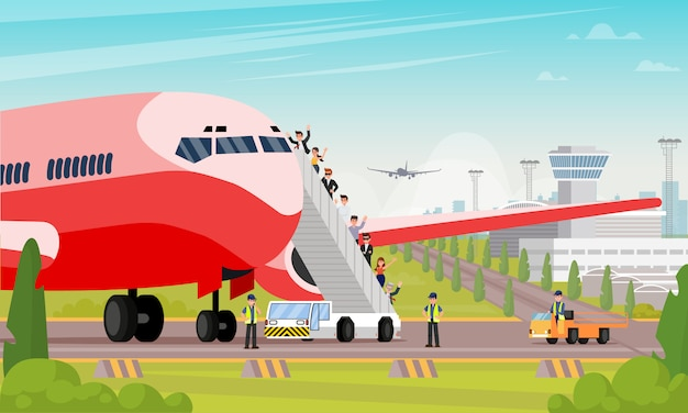 Happy passengers board airplane flat illustration Premium Vector