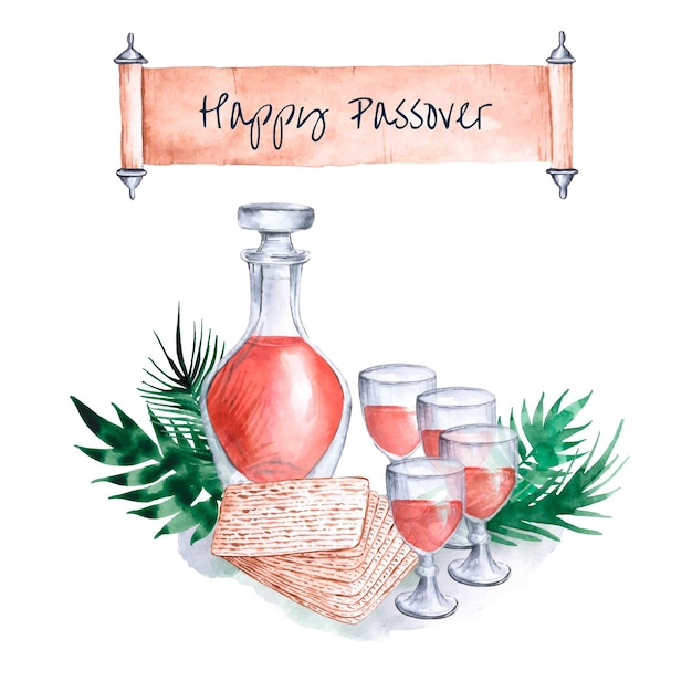 Happy passover watercolor Free Vector