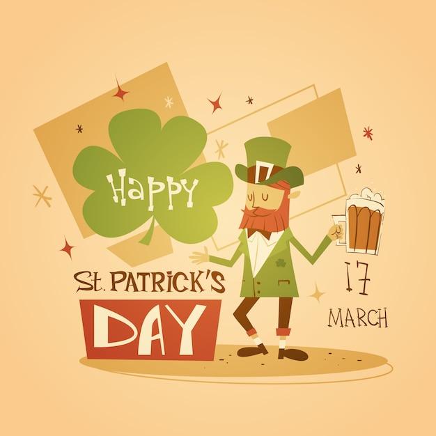 Happy patrick day festival пивной праздник плакат фест Premium векторы