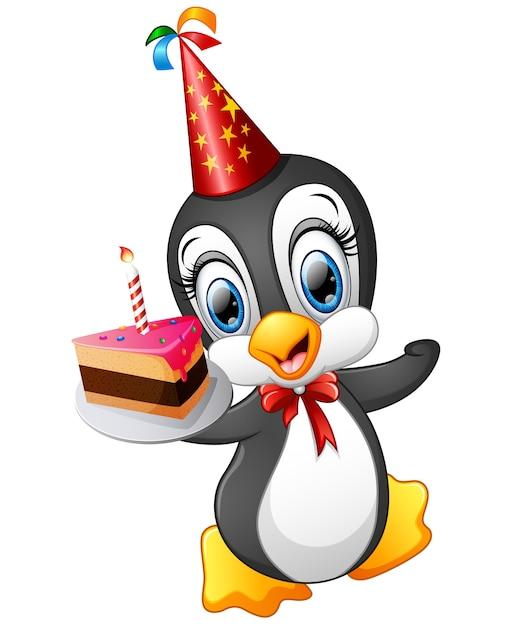 Fabulous Happy Penguin Cartoon Holding Birthday Cake Premium Vector Funny Birthday Cards Online Alyptdamsfinfo