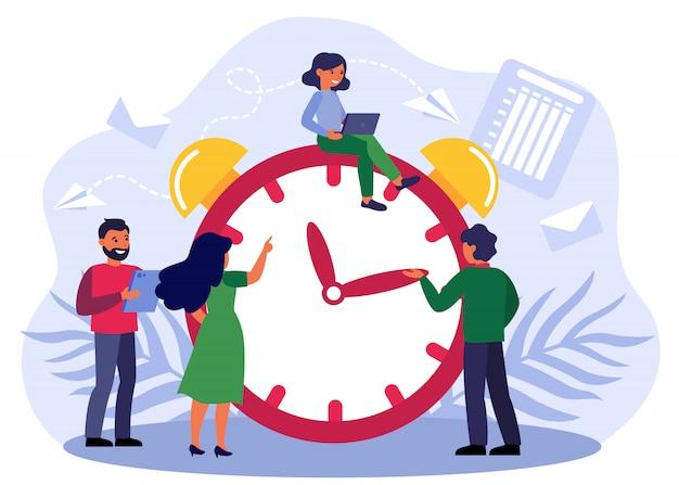 目覚まし時計を調整する幸せな人々 無料ベクター