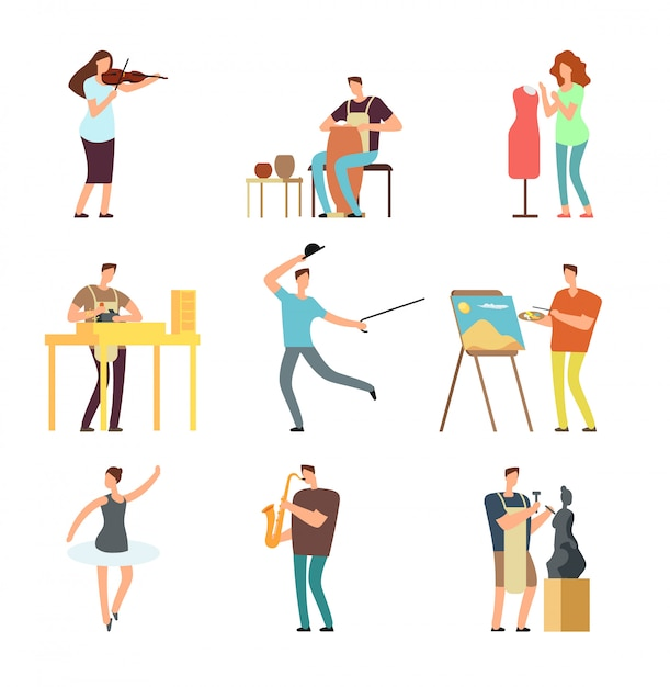 Happy people of art and music. cartoon artists and musicians vector isolated characters in creative artistic hobbies Premium Vector