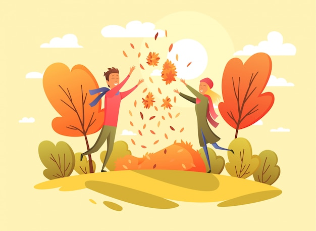 Happy People In An Autumn Park Trend Colors Illustration In