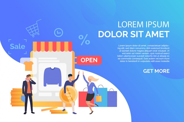 Happy people buying clothes in online shop with sample text Free Vector