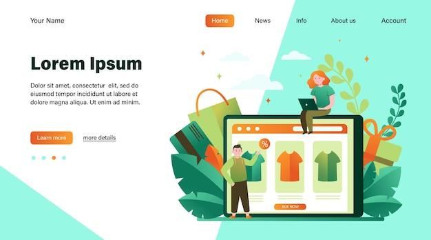 Happy people buying clothes online. t-shirt, percent, customer flat vector illustration. e-commerce and digital technology concept website design or landing web page Free Vector
