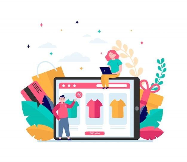 Happy people buying clothes online Free Vector