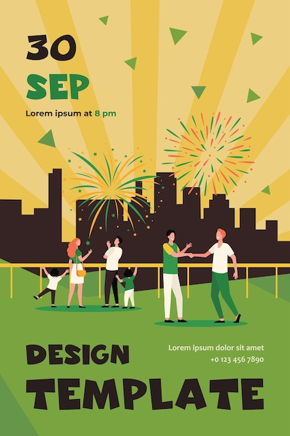 Happy people celebrating on city street and watching fireworks flat flyer template Free Vector