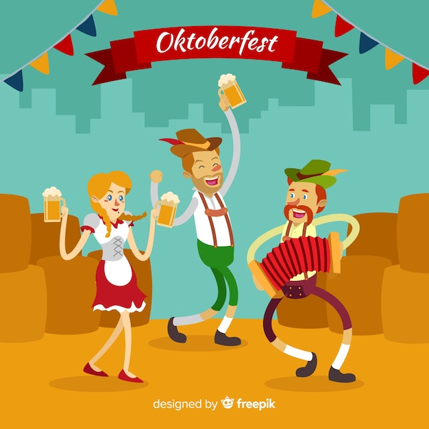 Happy people celebrating oktoberfest with flat design Free Vector