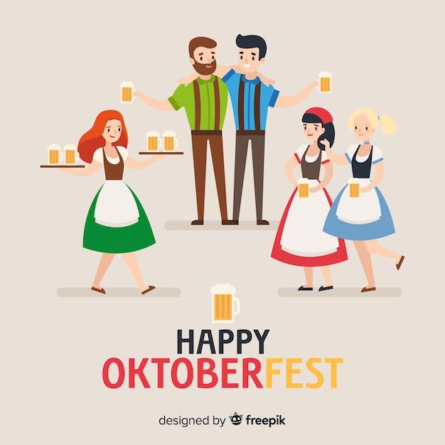 Счастливые люди, празднующие октоберфест с плоским дизайном Бесплатные векторы