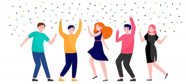 파티에서 함께 춤을 추는 행복한 사람들 무료 벡터