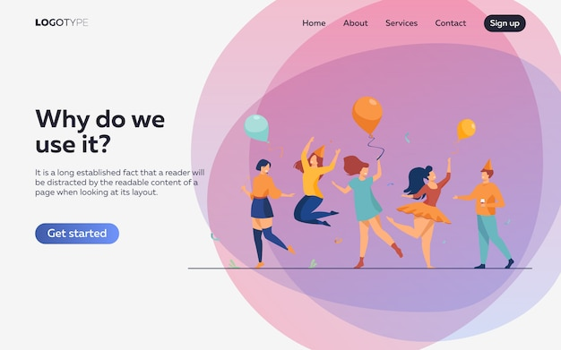 Happy people dancing at party flat illustration. landing page or web template Free Vector