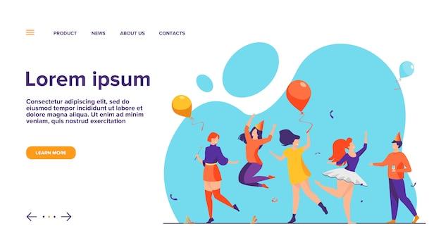 Gente felice che balla alla festa piatta illustrazione vettoriale Vettore gratuito