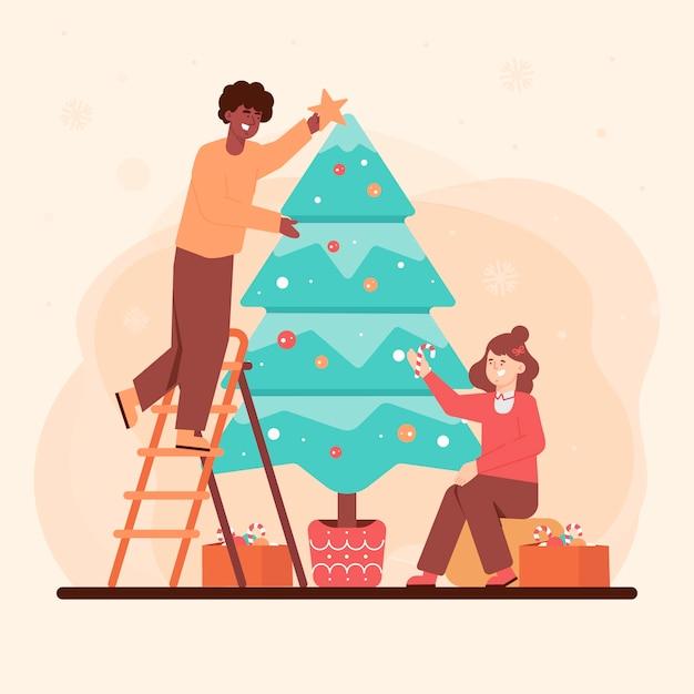 Happy people decorating christmas tree Free Vector