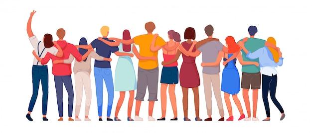 행복한 사람들. 다시보기 함께 서 포옹 다양한 다민족 사람들이 문자 그룹. 국가 결속, 연대 및 단결 삽화. 국제 우정 통신 벡터 프리미엄 벡터