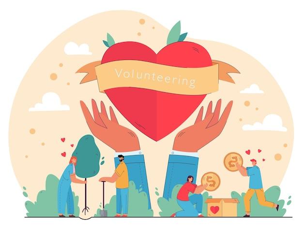 자원 봉사를 즐기고 도움을주고, 기부 상자에 현금을 포장하고, 마음에 나무를 심는 행복한 사람들. 자선, 자연 보호, 인도주의 지원 개념에 대한 그림 무료 벡터